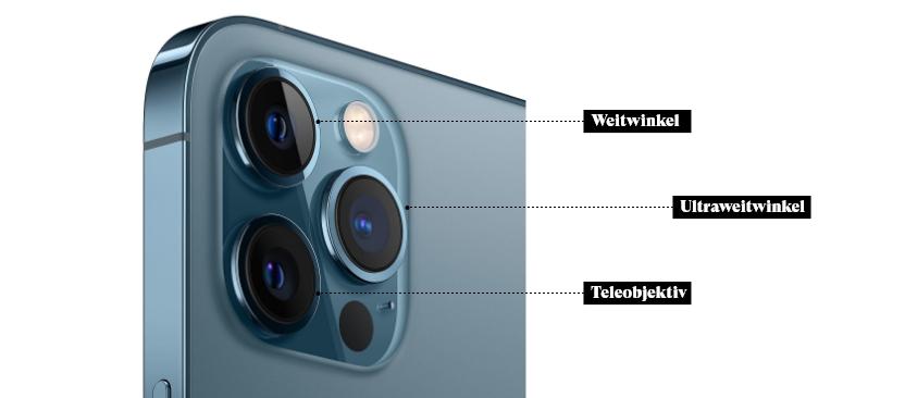 Die Kamer des iPhone 12 Pro Max beschriftet