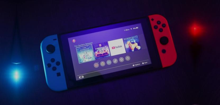 Die Nintendo Switch, in Form der mobilen Spielkonsole