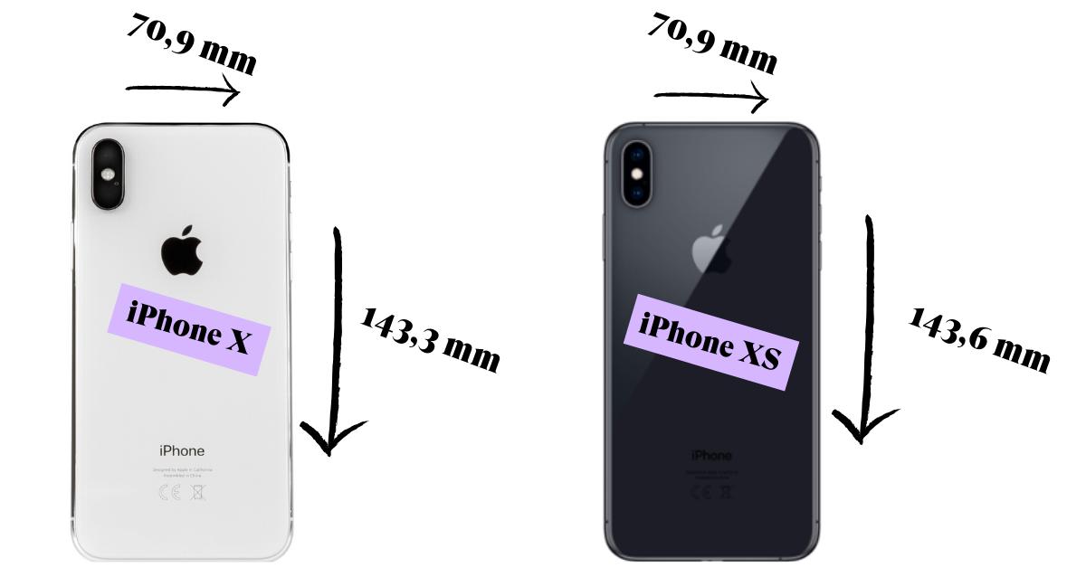 Tamano iphone xs y x