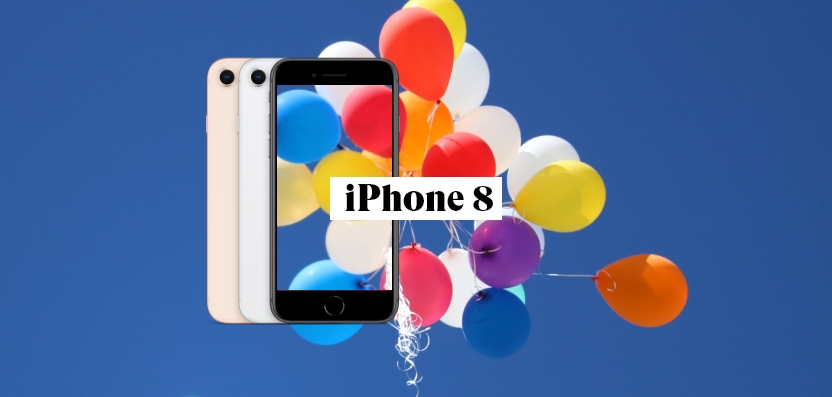 iPhone 8 in Schwarz, Weiß und Rosa mit Ballons im Hintergrund