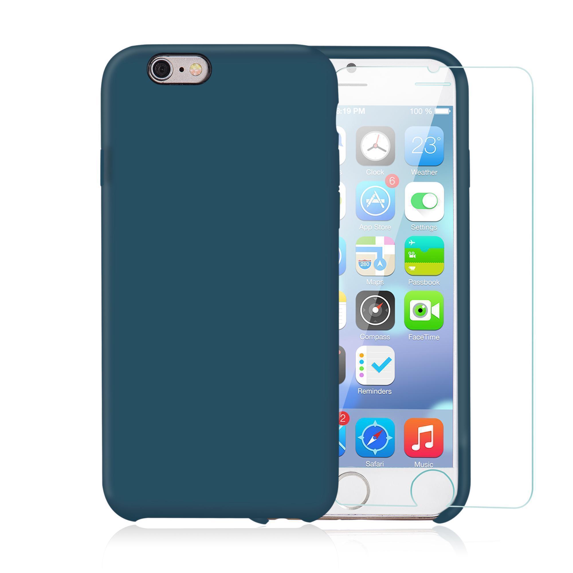 Capa e 2 películas de proteção iPhone 6 Plus/6S Plus - Silicone - Teal