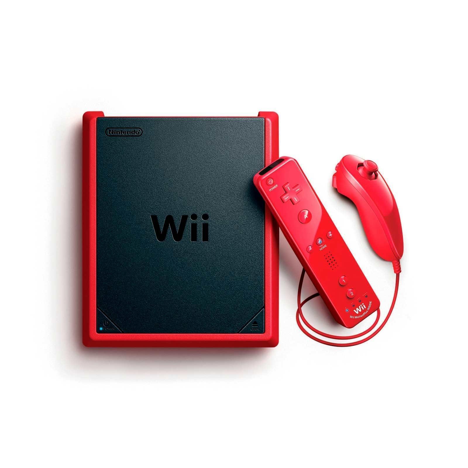 Konsoli Nintendo Wii Mini RVL-201 + 1 Ohjain - Musta/Punainen