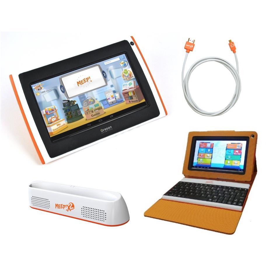 Tablette pour enfant Meepx2 violette, Pack Juniors (Clavier, station d'accueil, housse, câble HDMI)