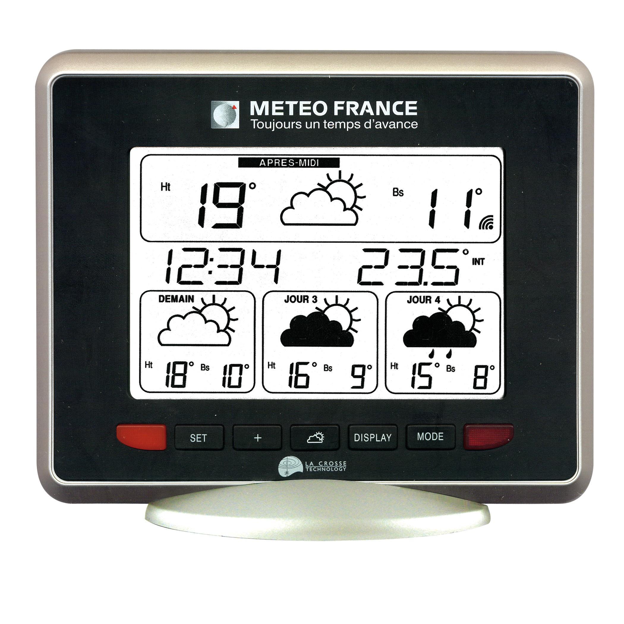 Station météo WD9530 IT+ J+3 Météo France Noir-Argent