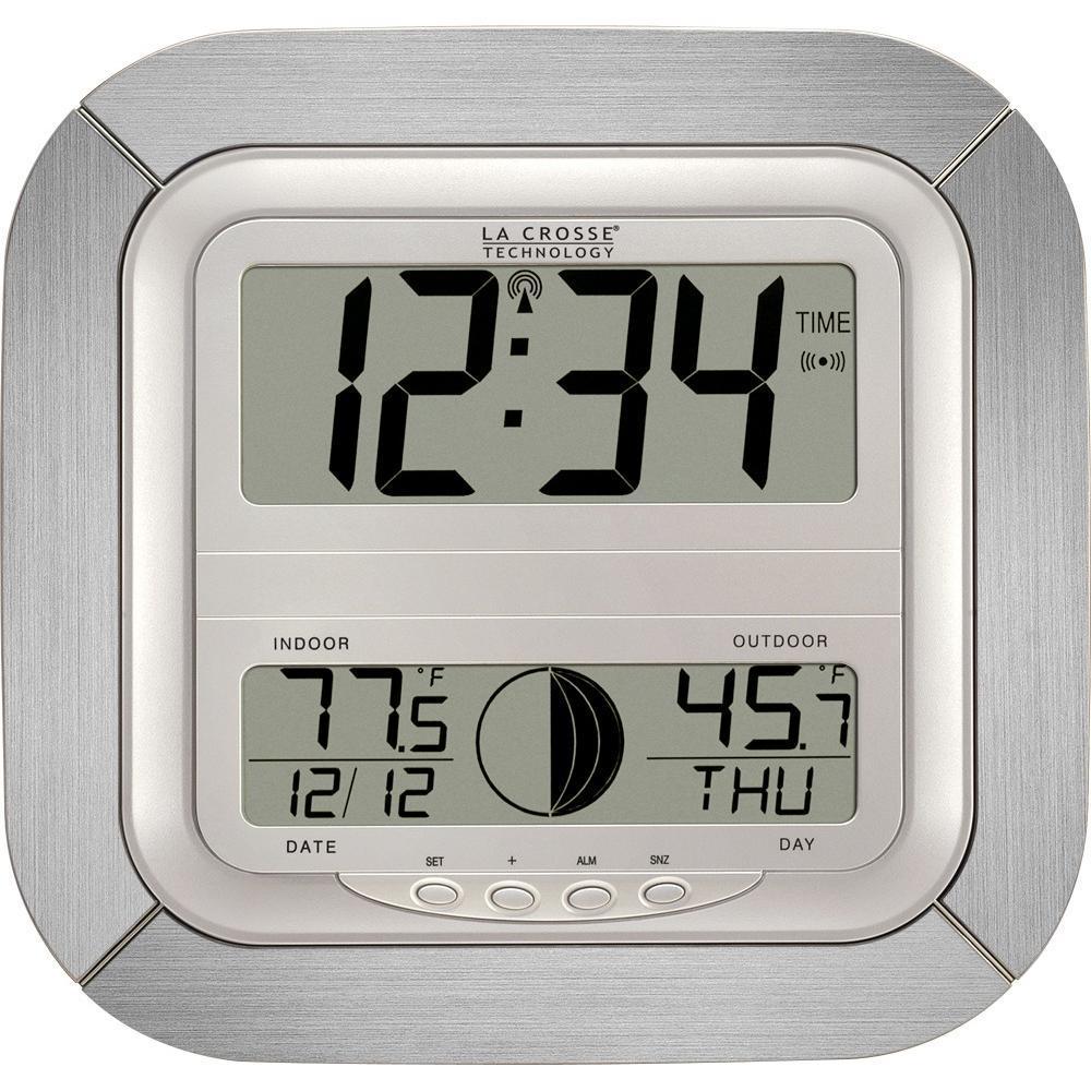 Horloge murale avec phases de lune, températures intérieure et extérieure WS8418