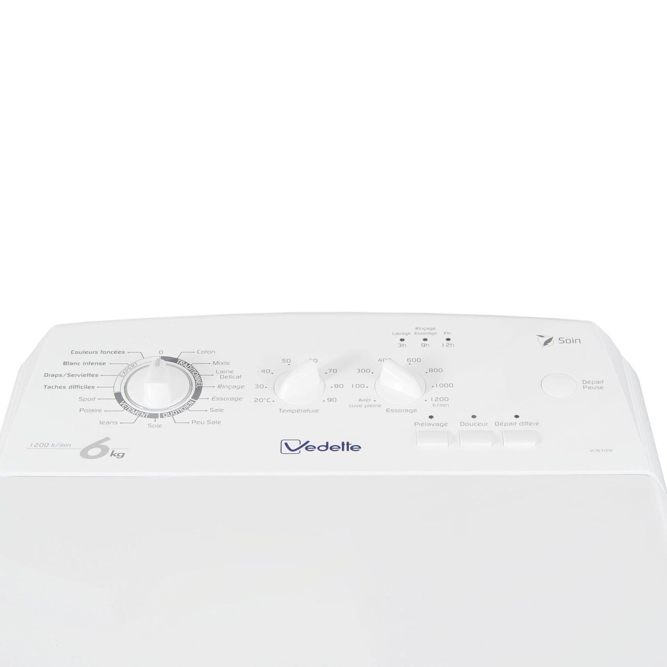 Lave-linge top 6kg - 40cm - Classe A++ - 1200 trs/min -départ différé VLT6312W