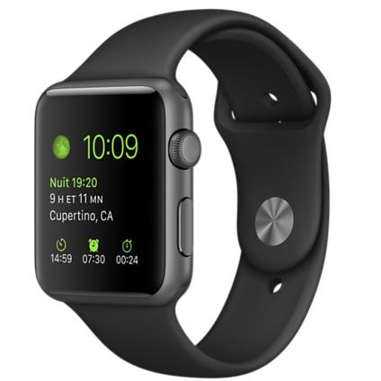 Apple Watch (1. Gen) 42 mm - Aluminium Gris sidéral - Bracelet Sport noir