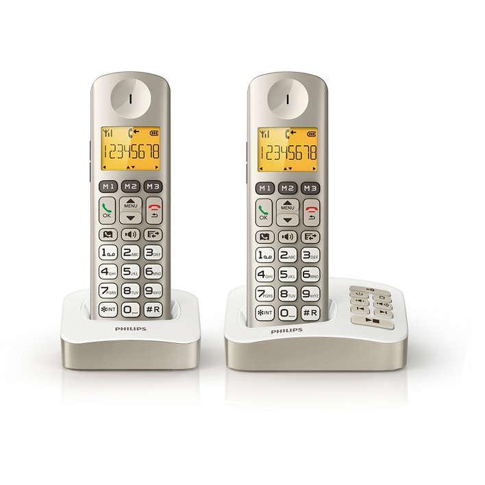 Téléphone sans fil avec répondeur perle Philips XL3052C/FR