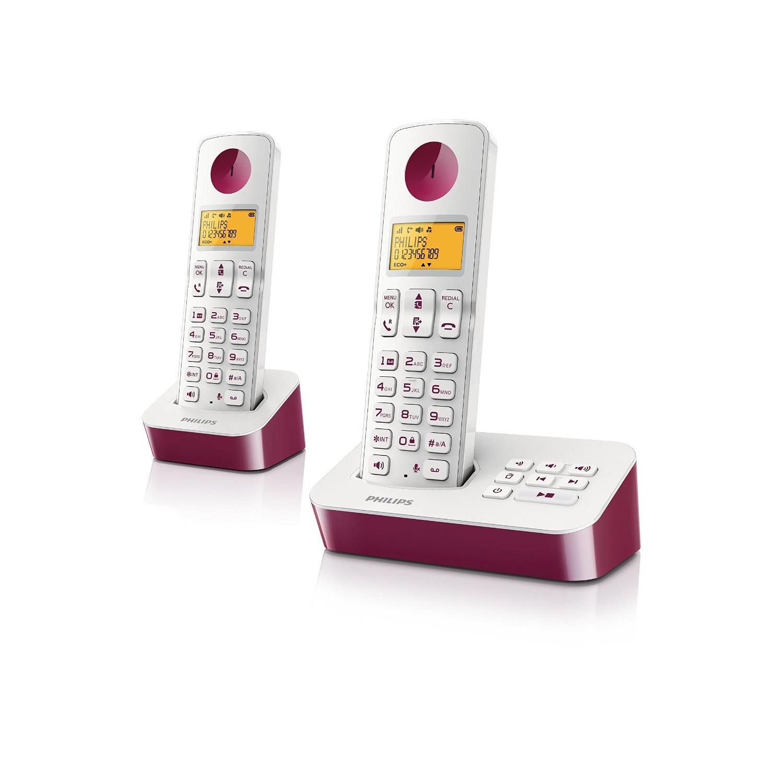 Téléphone sans fil duo avec répondeur Philips D2152WP/FR