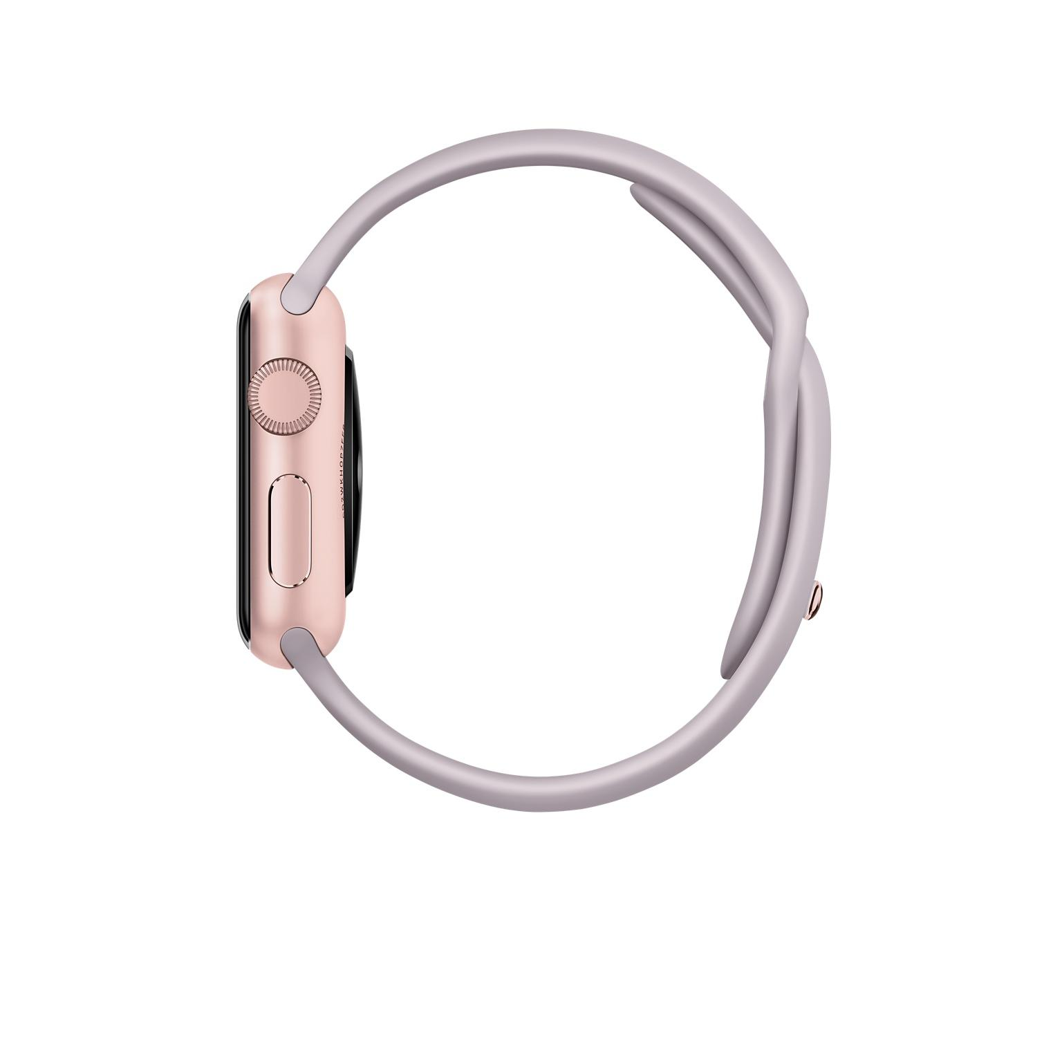Apple Watch 38 mm - Aluminium or rose - Bracelet Sport lavande