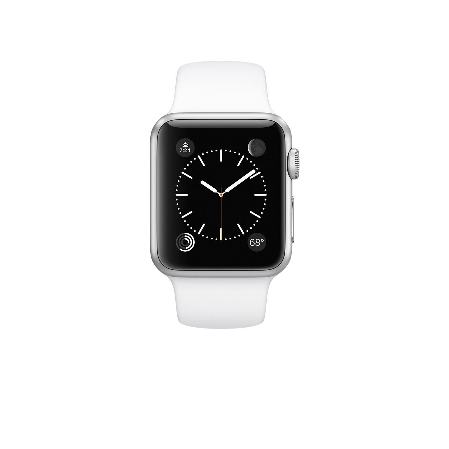 Apple Watch 38 mm - Aluminium Silber - Weißes Sportarmband