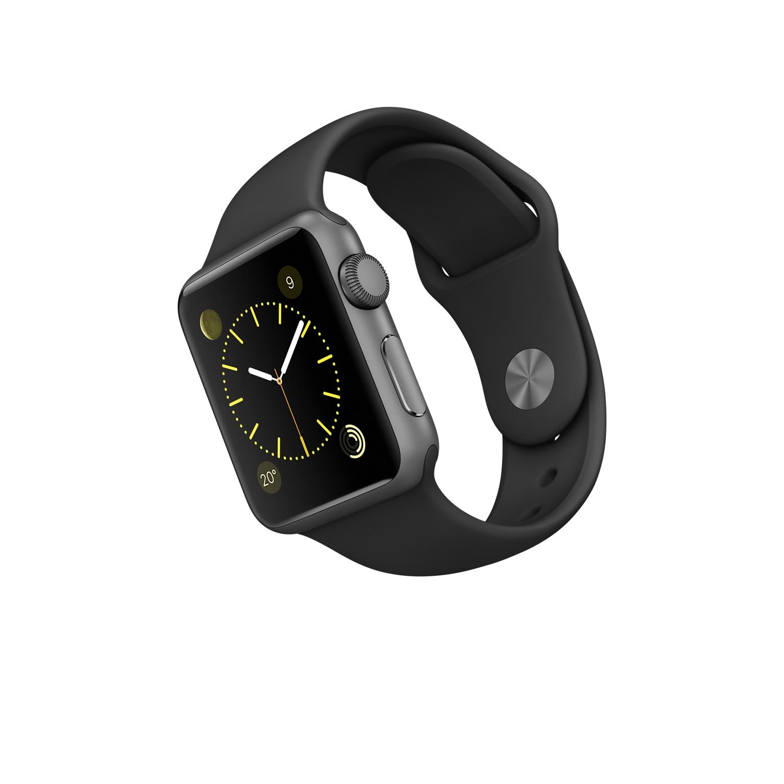 Apple Watch (Series 1) 38 mm - Aluminium Spacegrau - Sportarmband schwarz