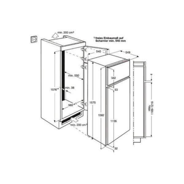 Réf intégrable congélateur en haut ELECTROLUX EJN2710AOW Froid statique