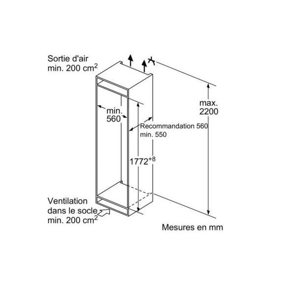 Réfrigérateur intégrable 1 porte SIEMENS KI 82 LAD 30 Froid statique