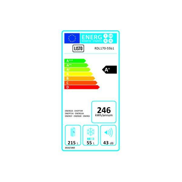 Réfrigérateur congélateur en haut LISTO RDL170-55b1 Froid statique