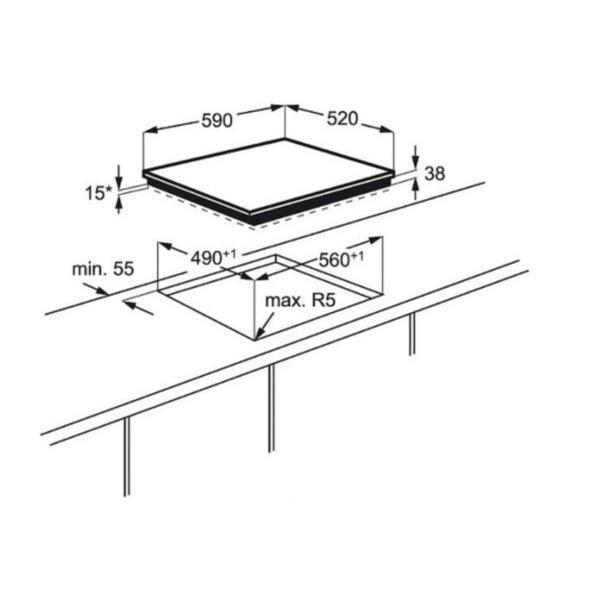 Table de cuisson vitrocéramique ELECTROLUX EHF6547IWP 59 x 3.8 x 52 cm