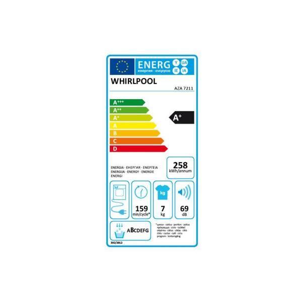 Sèche-linge pompe à chaleur frontal WHIRLPOOL AZA 7211 7kg 59.6 x 84.5 x 63.2 cm