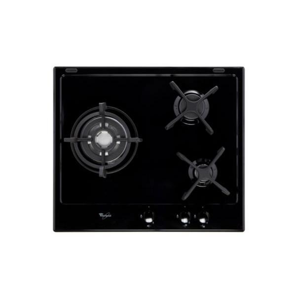 Table de cuisson gaz WHIRLPOOL AKT653NB 3 foyers noire