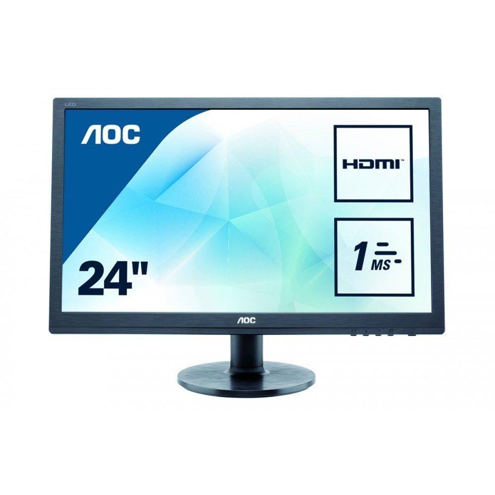 "AOC - E2460SH - Ecran PC 24"" HDMI, VGA et DVI Widescreen Haut-parleurs - Noir"