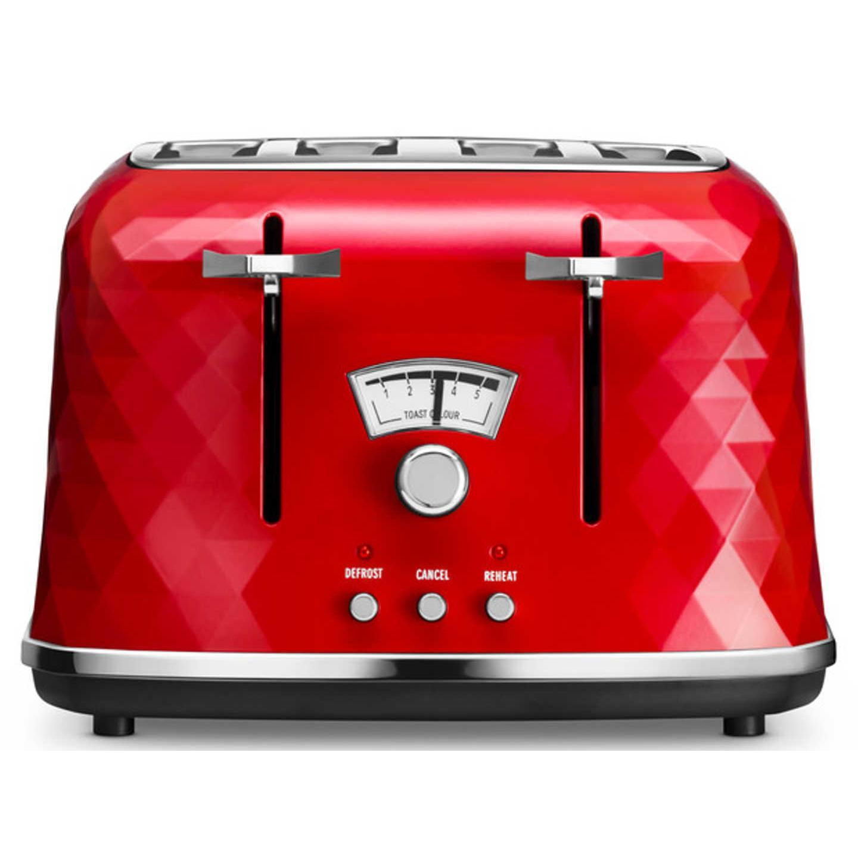Delonghi - CTJ4003R - Grille-pain 4 Tranches brilliante rouge