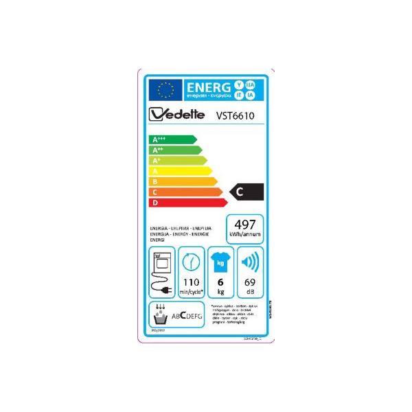 Sèche-linge à condensation top VEDETTE VST6610 6kg