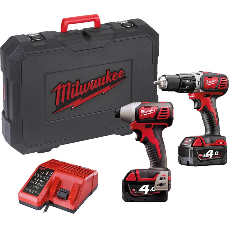 Milwaukee - M18BPP2C402C - Pack Perceuse à percussion + Visseuse à chocs + 2 batteries et chargeur