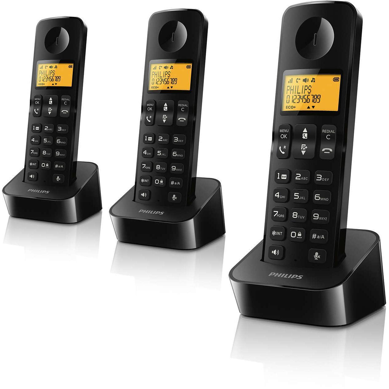 Téléphone trio sans fil Philips D2103B/FR