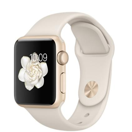 Apple Watch 38 mm - Aluminio oro - Pulsera deportiva en blanco antiguo