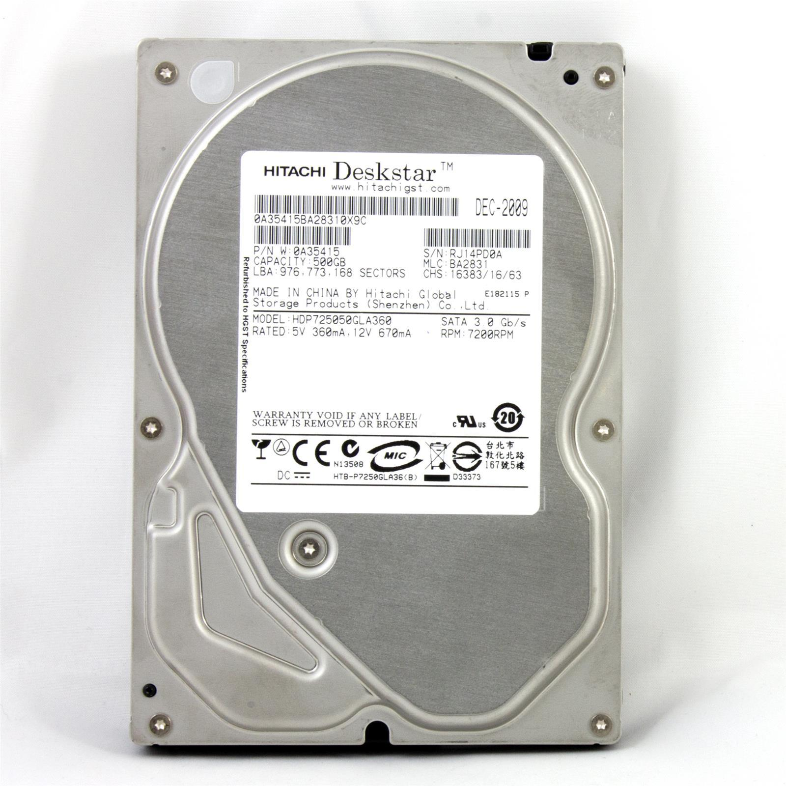 Hitachi Deskstar T7K500 Disque dur 500 Go - 3,5'' SATA