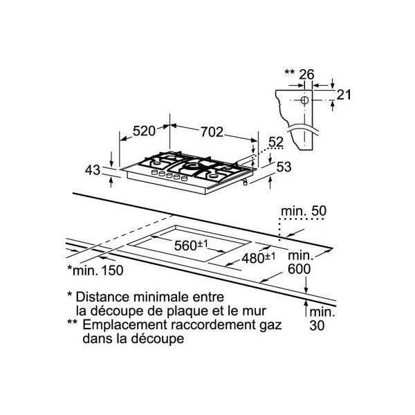 Table de cuisson gaz SIEMENS EC745RB90E