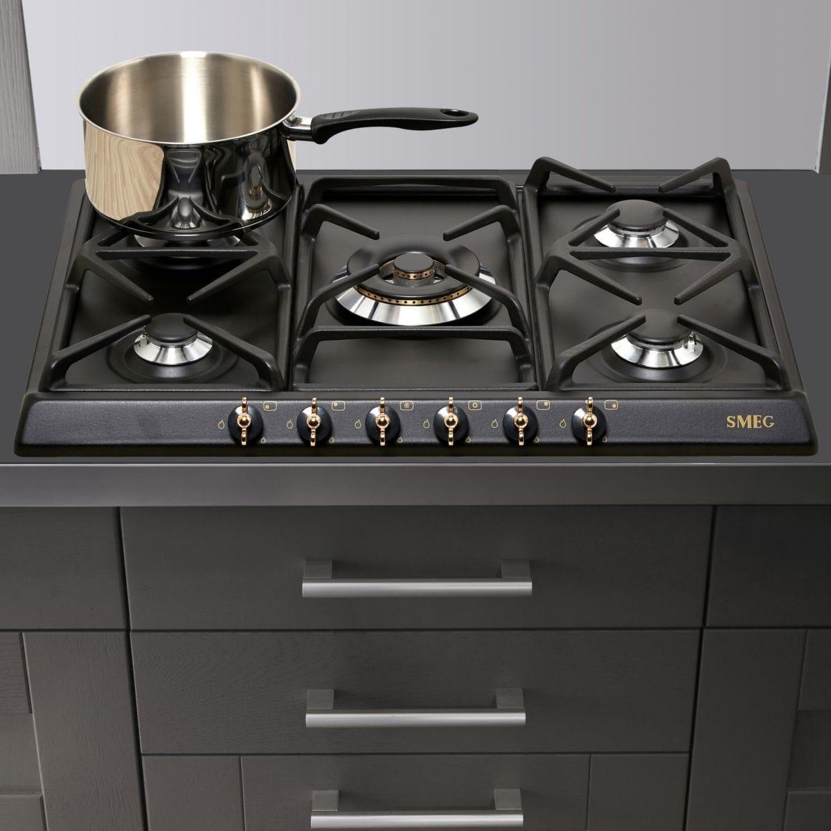 Table de cuisson - Gaz 5 foyers - SMEG SPR876AGH