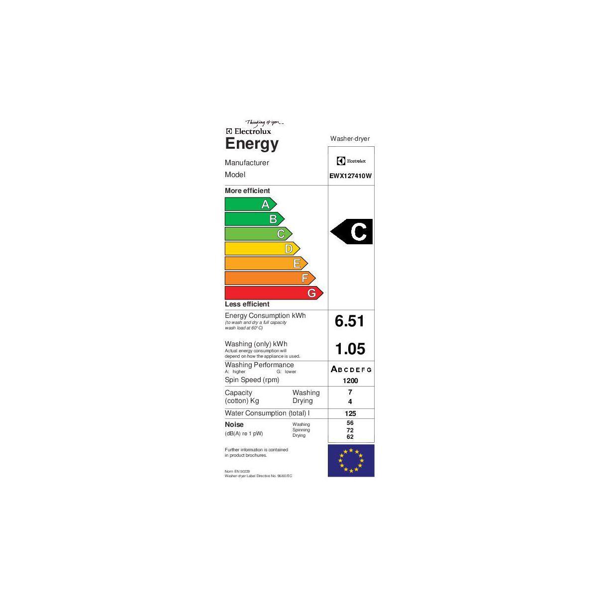 Lave-linge séchant intégrable ELECTROLUX EWX 127410 W