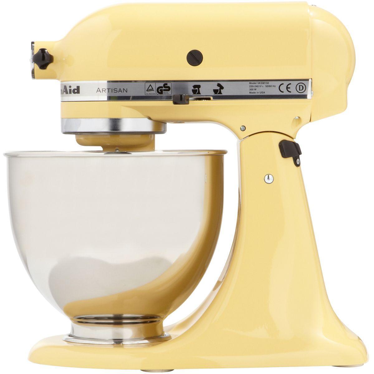 robot p tissier sur socle kitchenaid artisan 5ksm150ps emy jaune pastel reconditionn back. Black Bedroom Furniture Sets. Home Design Ideas