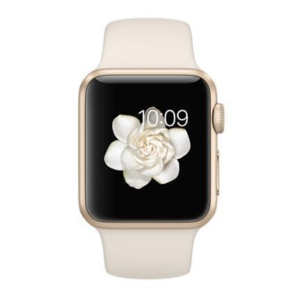 Apple Watch 38 mm - Aluminium or - Bracelet Sport blanc antique