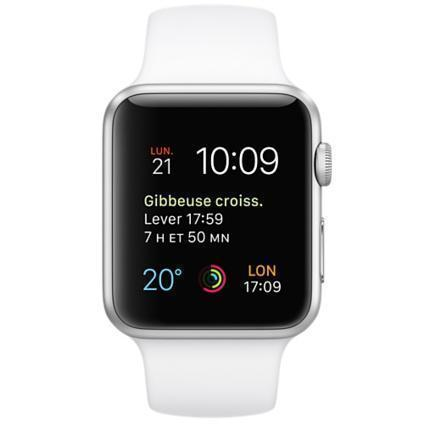 Apple Watch (Series 1) 42 mm - Aluminium argent - Bracelet Sport blanc