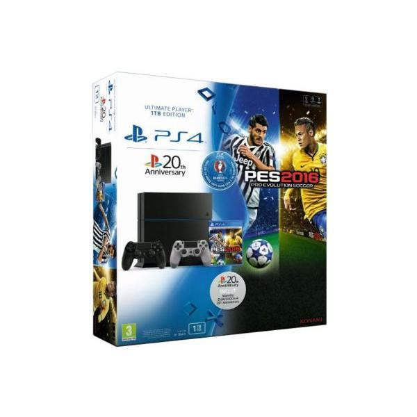 Pack - Sony PS4 1 To + PES Euro 2016 + Manette DualShock 4 - Noir