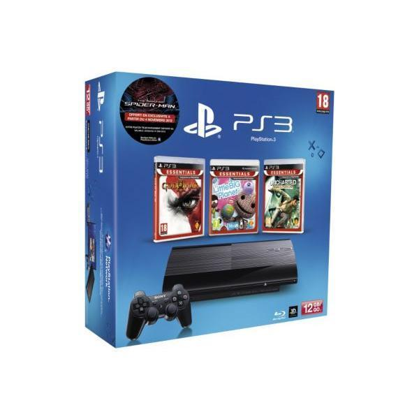 Pack - Sony PS3 12 Go + Uncharted + LBP + God Of War 3 - Noir