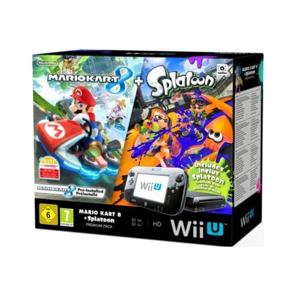Pack - Nintendo Wii U Premium 32 Go + Jeux inclus Mario Kart 8 + Splatoon - Noir