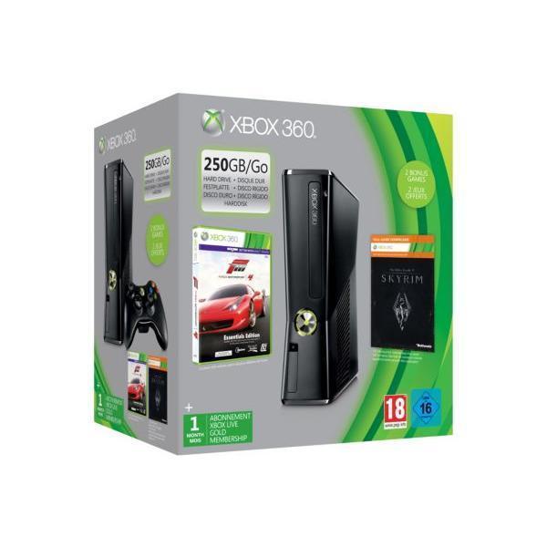 Pack - Microsoft Xbox 360 Slim 250 Go Forza 4 + Skyrim - Noir