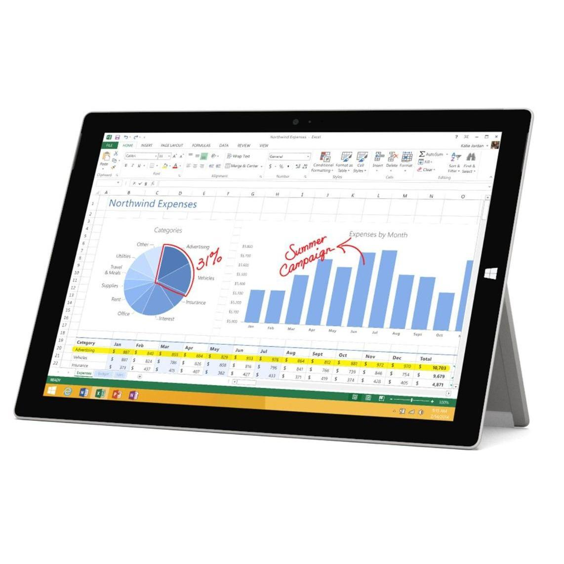 "Microsoft Surface Pro 3 12"" Core i3 1,5 GHz  - 64 Go HDD + SSD - RAM 4 Go"