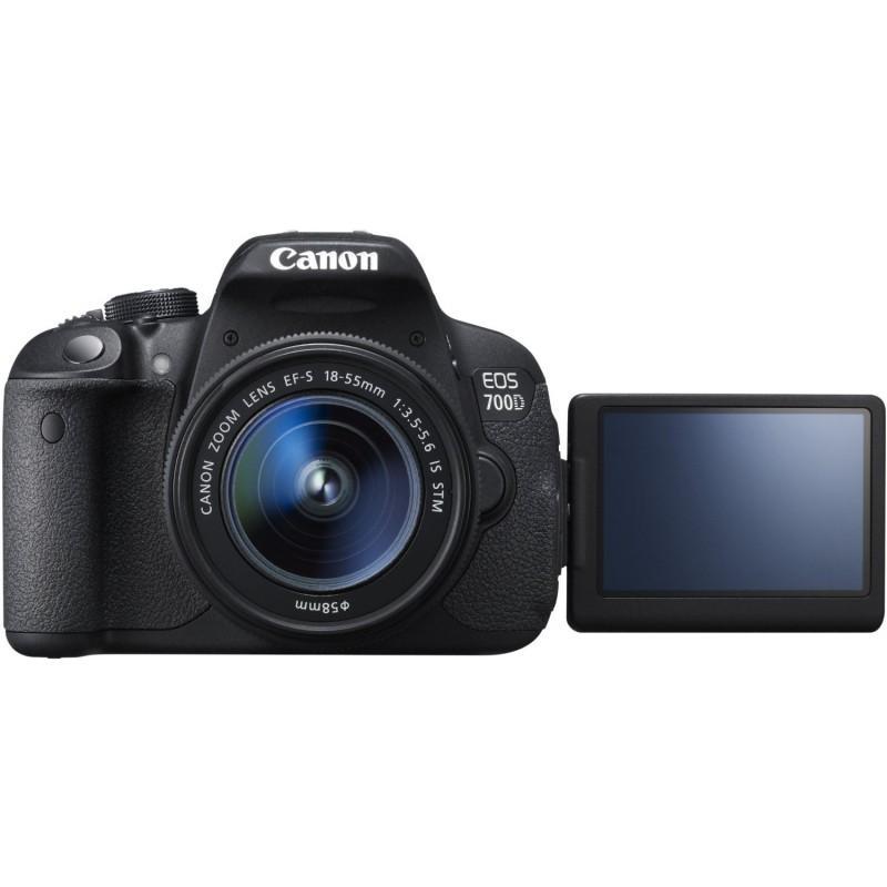 Spiegelreflexkamera Canon EOS 700D - Schwarz + Objektiv Canon EF-S 18-55mm f/3.5-5.6 IS STM