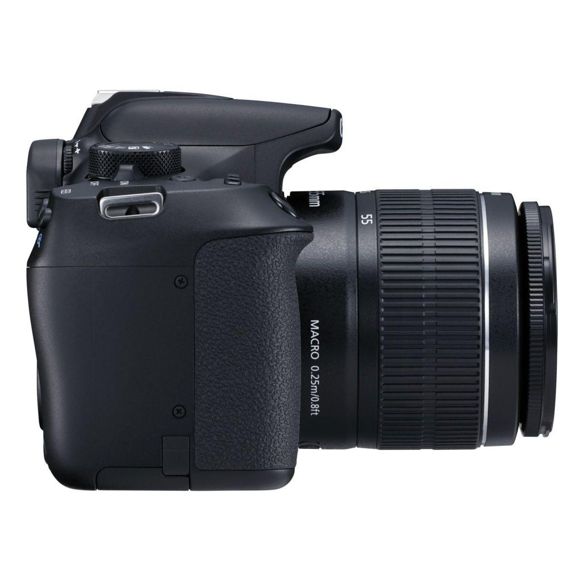 Reflex - Canon EOS 1300D - Negro + Lente Canon 18-55 mm + 55-250 mm