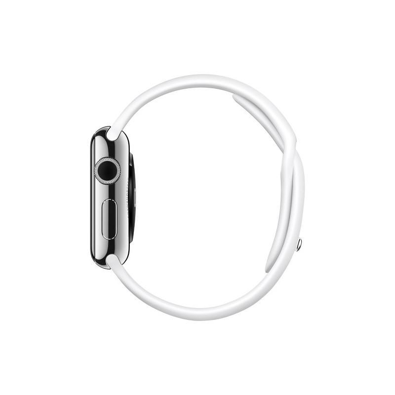 Apple Watch (Series 1) Dezember 2016 38 mm - Rostfreier Stahl Silber - Armband Sportarmband Weiß