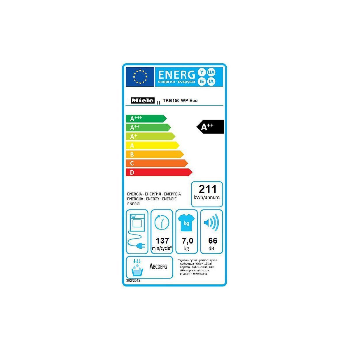 Sèche-linge pompe à chaleur frontal  MIELE TKB 150 WP