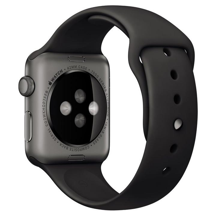 Apple Watch (Series 1) Maart 2015 42 mm - Aluminium Spacegrijs - Armband Sport armband Zwart