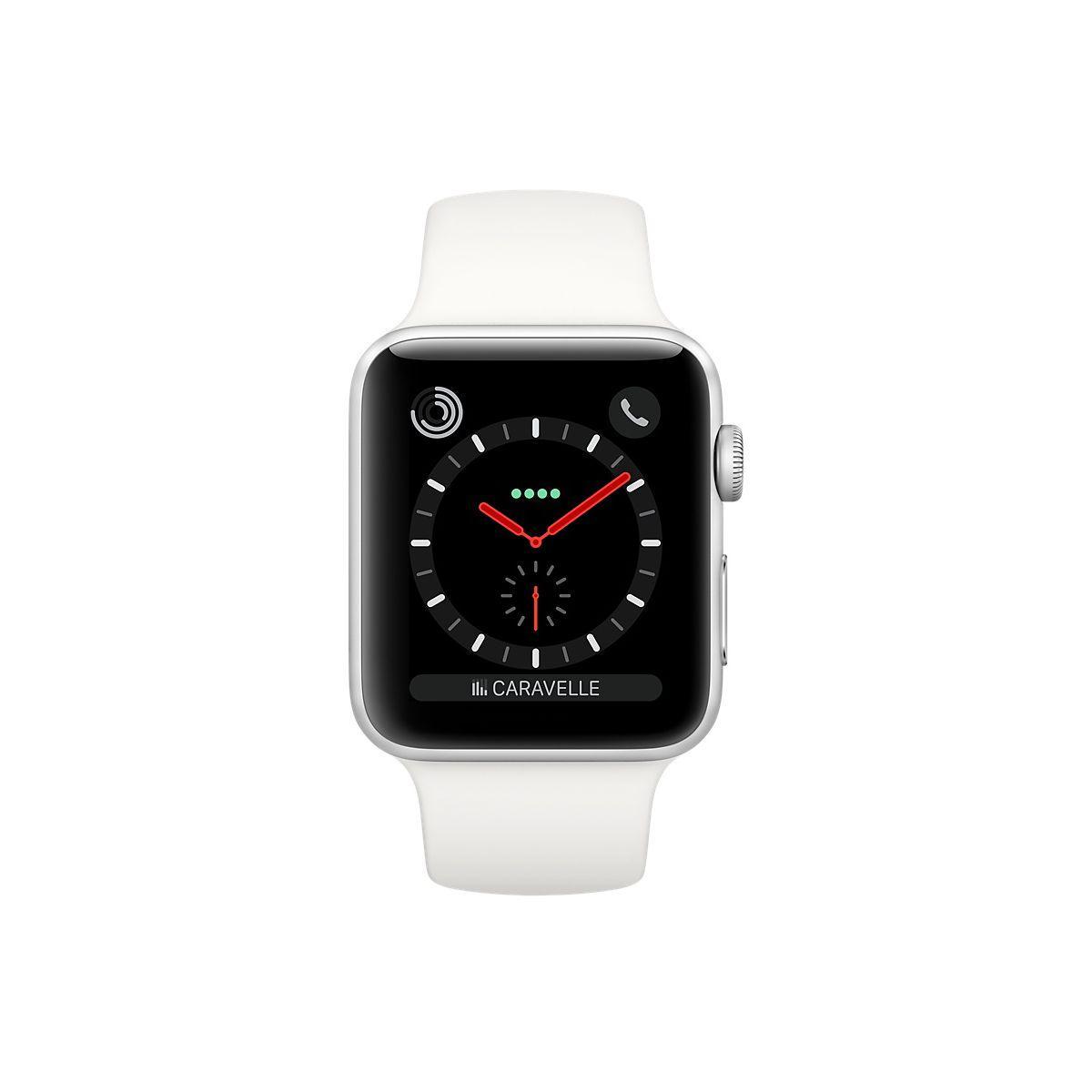 Apple Watch (Series 3) 2017 42 mm - Rostfreier Stahl Silber - Armband Sportarmband Weiß