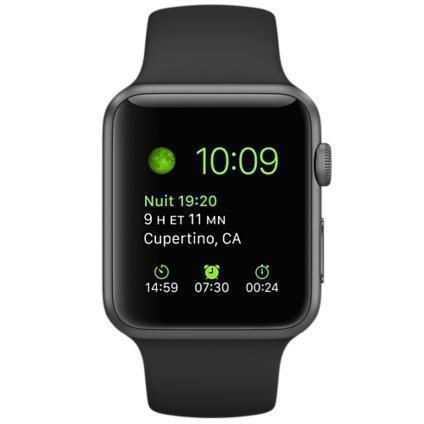Apple Watch (1. Gen) 42 mm - Aluminium Gris sidéral - Bracelet Sport noir