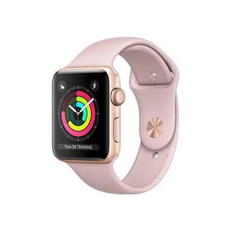 Apple Watch (Series 3) Syyskuu 2017 38 mm - Alumiini Kulta - Armband Sport loop Pinkki