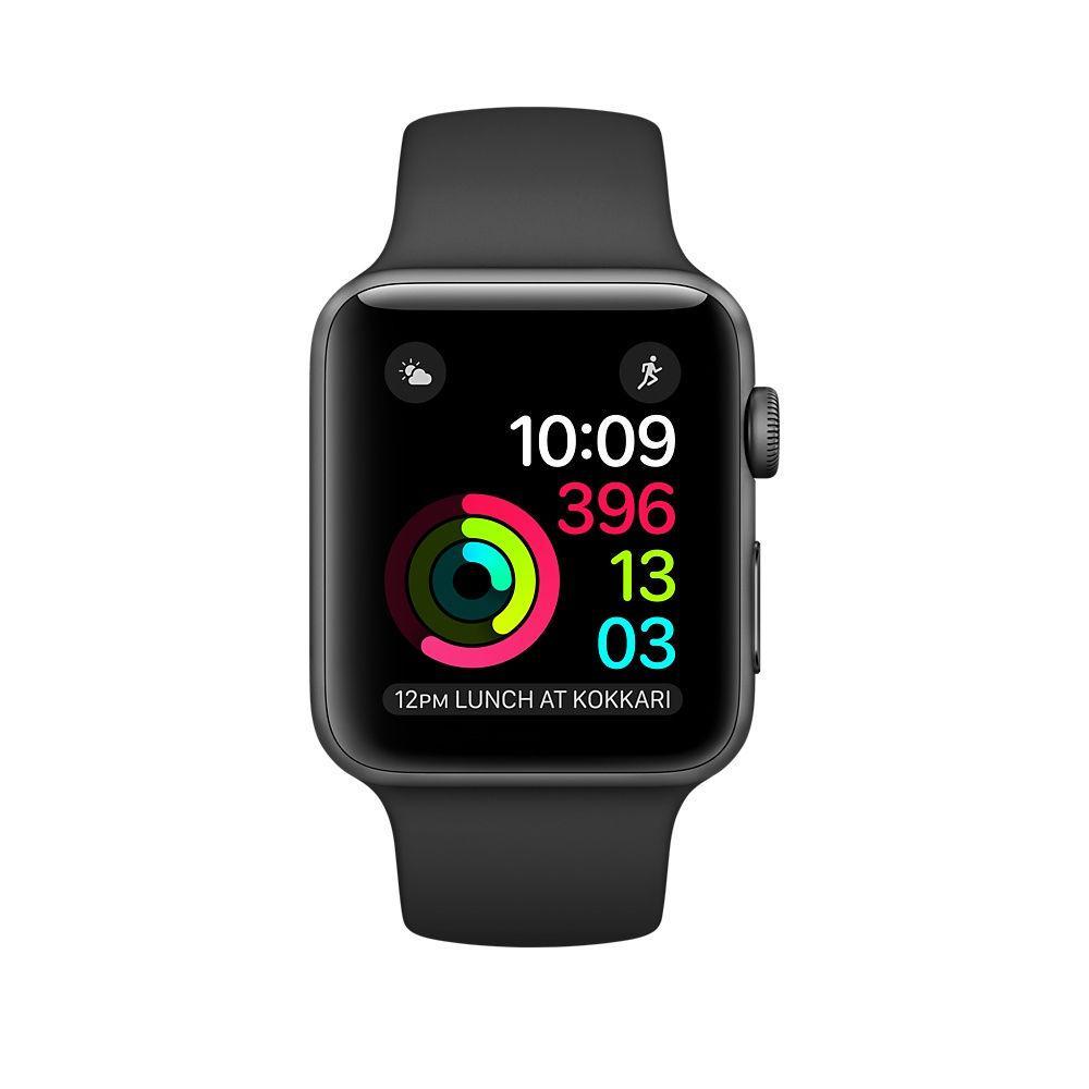Apple Watch (Series 2) 2016 38 mm - Aluminium Gris sidéral - Bracelet Sport Nike Noir