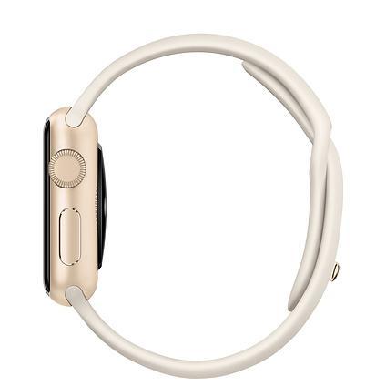 Apple Watch (Series 1)  38 mm - Aluminium Or -  Bracelet Sport Blanc Antique